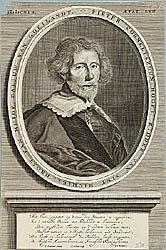 Pieter Cornelisz Hooft (Amsterdam, 16 maart 1581 - Rotterdam, 21 mei 1647. Beeld: Collectie Stichting Provinciale Atlas Noord-Holland. Portretten, inventarisnummer: 0269. Auteur l.o.: I. Sandrart, pinxit; m.o.: A. Sijlvelt, sculp.).