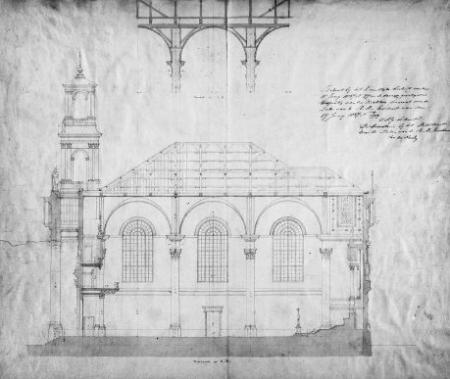 Bouwtekening Mozes en Aäronkerk (1837) – T.F. Suys – Stadsarchief Amsterdam