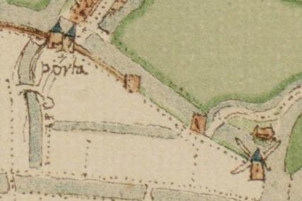 De stadswal aan de noordzijde van de stad op de kaart van Jacob van Deventer, ca. 1560.