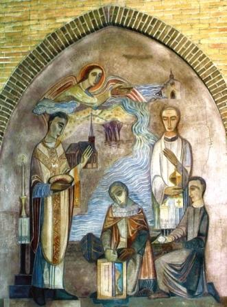 Fresco Jaap Min: het wonder van het Heilig Bloed in de Petrus en Pauluskerk te Bergen.