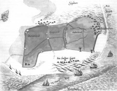 Kaart van Lourens Pietersz., 1577, nagetekend door Henk Schoorl.