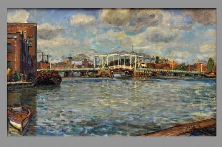 Langs de Zaan met de Noorderbrug, door Willem Jansen, 1953.