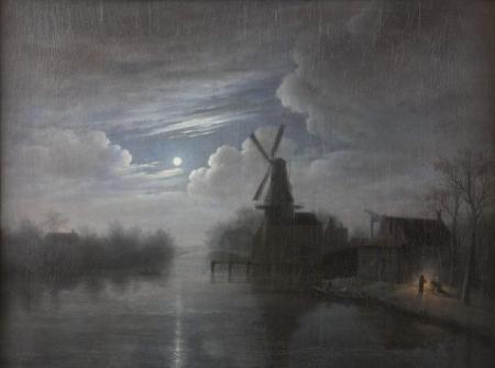 Landschap met molen bij maanlicht, door Gerrit-Jan Michaëlis, 1825.