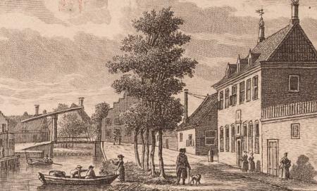 Het Weeshuis in 1726 (gravure door Cornelis Pronk).