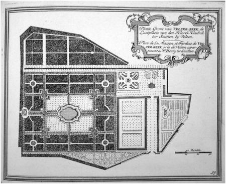 Plattegrond van de 'Le-Notre' tuinen van Velserbeek, 1729.