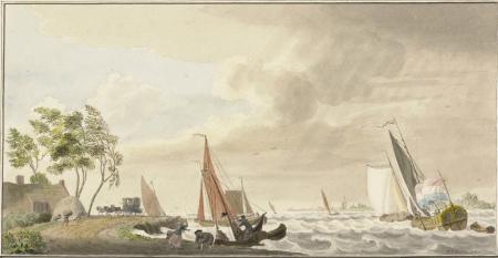Storm op een meer in 1762 door Cornelis van Noorde.