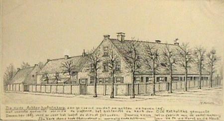 De Achterhofsekerk, getekend door Maarten Betlem.
