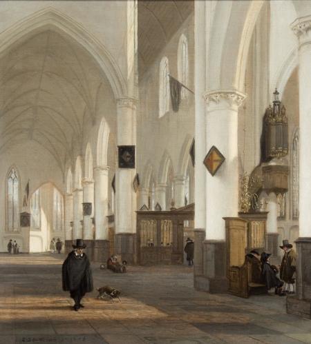 Emanuel de Witte, oliepaneel 1656, winterzonlicht rond 12.30 uur.