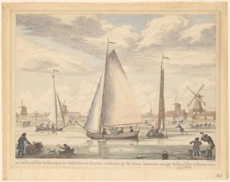 Loosjes, Simon Fokke, ijspret op de Zaan, 1776. PA 359 -3619