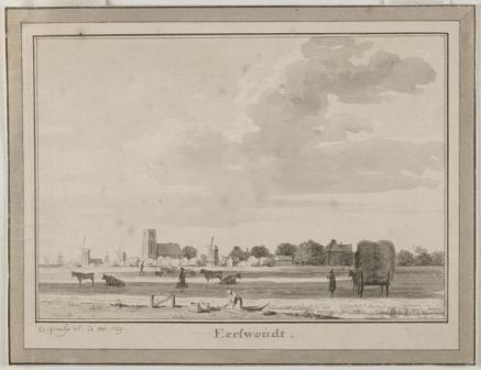 Aartswoud in 1729. Getekend door Cornelis Pronk.