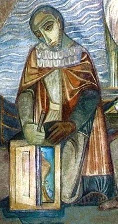 Detail fresco: schout Jan van Prucen vindt de ciborie.