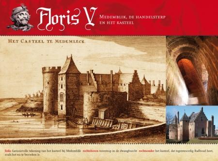 links: fantasievolle tekening van het kasteel bij Medemblik rechtsboven: torentrap in de dwangburcht rechtsonder het kasteel, dat tegenwoordig Radboud heet, zoals het nu te bezoeken is