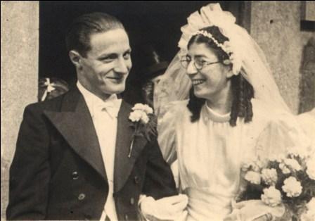 Trouwfoto van Meier Vieijra en Blanche Nabarro.