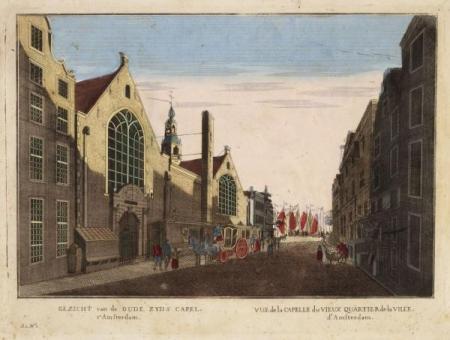 Gezicht van de Oude Zyds Capel, t'Amsterdam, ca 1765 - 1780.