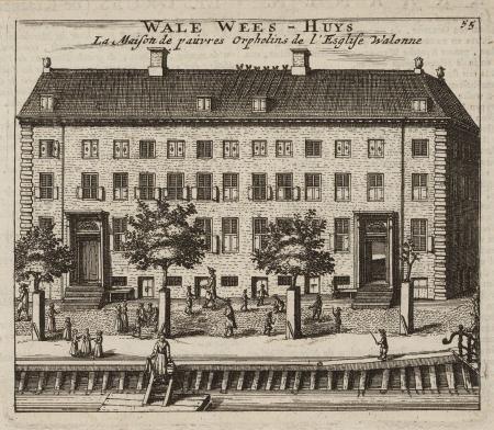 Het 'Wale Wees-Huys' ca. 1685, uit H. Scheerts (uitgever), Alle de voornaemste gebouwen der wihtvermaarde koopstad Amsterdam, na 1682. [c] STADSARCHIEF AMSTERDAM