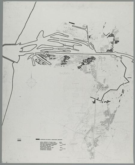 Kaart met verloren gegane woningen in de gemeente Velsen.
