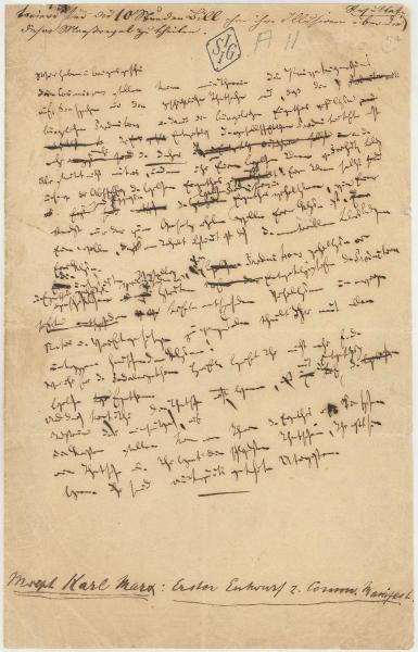 Fragment met doorhalingen en al uit de eerste versie (in het Duits, uiteraard) van het Communistisch Manifest in Karl Marx' handschrift. Gepubliceerd in 1848 onder zijn en Friedrich Engels' naam. [c] IISG