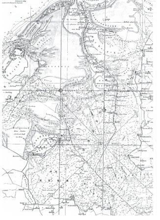 Positie op een oude zeekaart