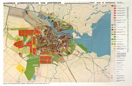 Algemeen Uitbreidingsplan Amsterdam, kaart 1935.