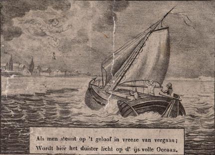 De schippers zijn op het water nabij Vlissingen in nood. Een engel verschijnt en wijst hun op een lap stof met drie bloeddruppels.