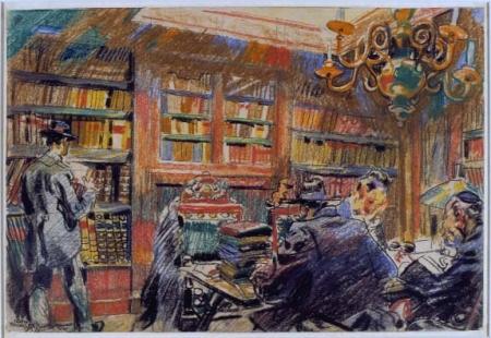 Interieur van de bibliotheek Ets Haim