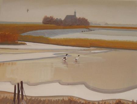 Ariën van Waterland, 'Winter '81-'82 Schardam', gemengde techniek, afm. 82 x 91,5 cm.