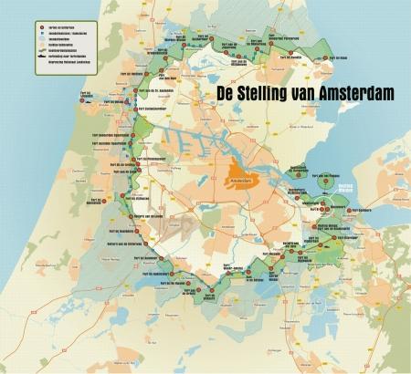 Overzichtskaart van de Stelling van Amsterdam.