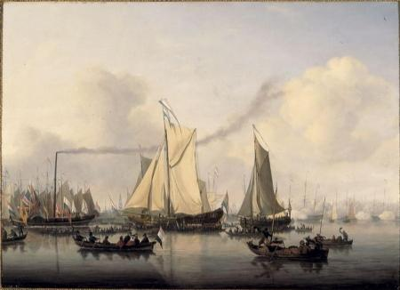 Eerste stoomboot op het IJ, door Nicolaas Baur.