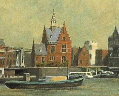 Gezicht op de Zaan, Frans Mars, detail oude havenkantoor.