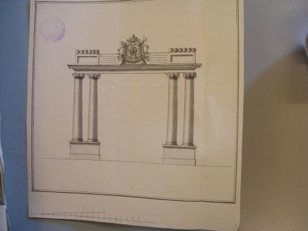 Ontwerptekening voor een ereboog voor de ontvangst van keizer Napoleon in Beverwijk, tekening 2.