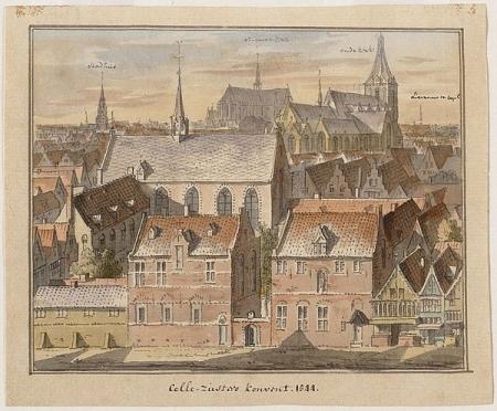 Het Cellezustersklooster langs de Zeedijk rond 1544.