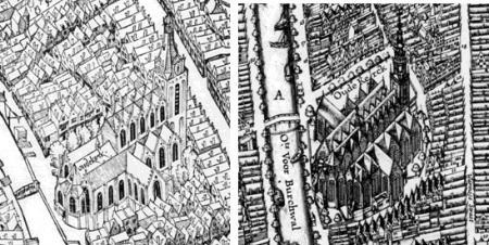 De Oude Kerk op de plattegrond van Cornelis Anthonisz. (links) uit 1544 en van Balthasar Florisz. van Berckenrode uit 1625.