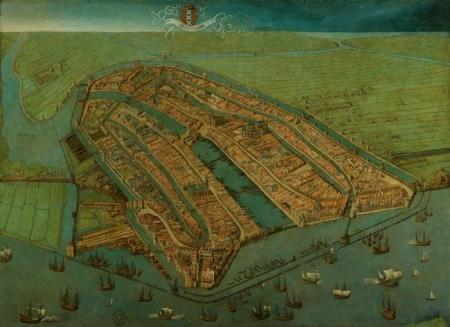 'Gezicht op Amsterdam in vogelvlucht', Cornelis Anthonisz., 1538