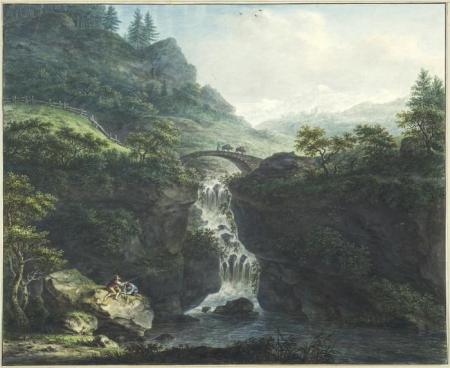Brug over de Tessin in het Levinerdal, door Johann Jacob Koller.