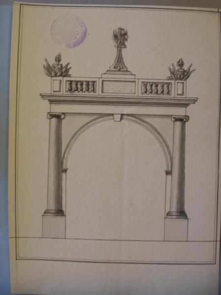 Ontwerptekening voor een ereboog voor de ontvangst van keizer Napoleon in Beverwijk, tekening 1.