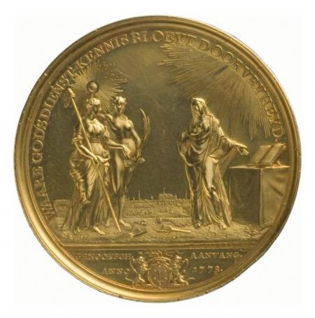 Prijspenning van Teylers Godgeleerd Genootschap te Haarlem, door Johann Georg Holtzhey.