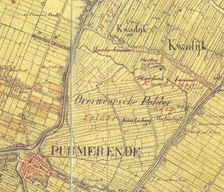 Kaart van de Overweersche Polder circa 1850