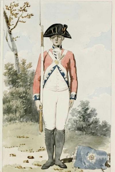 Engelse soldaat, eind 18de eeuw.