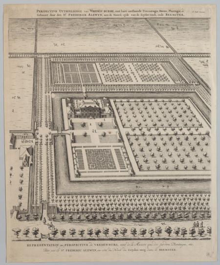 Vogelvluchtperspectief van van de hofstede Vredenburg, met tuinen en gracht. Omstreeks 1640