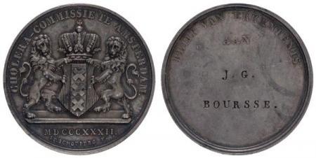 Medaille Cholera-Commissie ten name van J.G. Boursse, 1832.