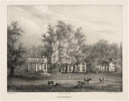 Buitenplaats Wildhoef aan de Kennemerweg te Bloemendaal met de theekoepel op de hoek van het Kerkplein. Vervaardigd door Petrus Josephus Lutgers (1808-1874) omstreeks 1840..