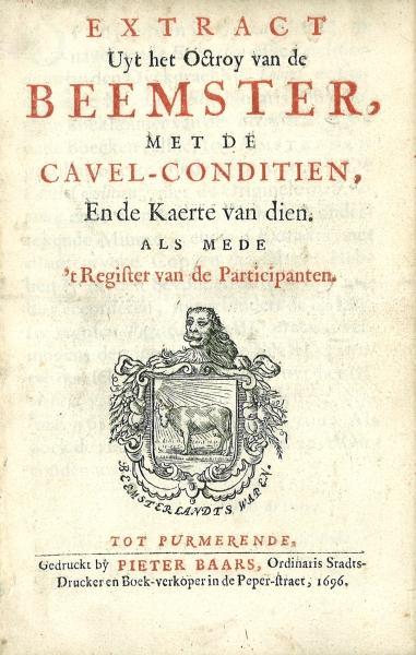 Titelblad van het gedrukte octrooi van de Beemster met het polderwapen.