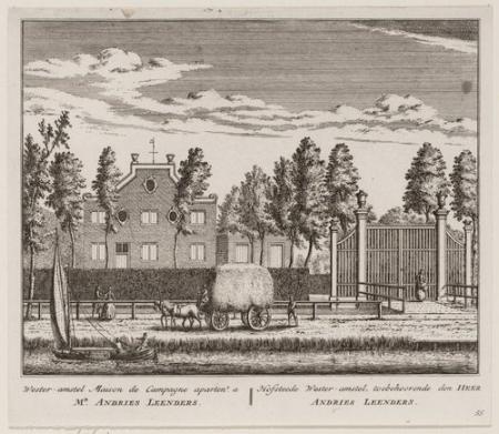 De hofstede Wester-Amstel aan de Amsteldijk-Noord te Nieuwer-Amstel (Amstelveen), toebehoorende den Heer Andries Leenders. Prent door Abraham Rademaker in 1730