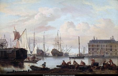 Het 's Lands Zeemagazijn en omgeving te Amsterdam, gezien vanaf de buitenkant. Abraham Storck, 1675. Bron: het Geheugen van Nederland