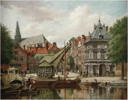 Wybrand Hendriks, De Waag en de Damstraat te Haarlem, ca. 1813-1814.