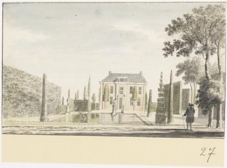 Huis Nienburg of Nijenburg van de familie Foreest, gezien van achterzijde. Op de voorgrond de tuin en vijver. Rechts een man op de rug gezien.