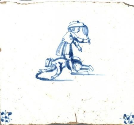 Tegel gevonden in het Muiderslot, eind 17e eeuw.