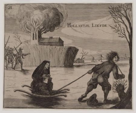 Prent waarop het verhaal van Lambert Melisz staat afgebeeld. Op de achtergrond naderen de Spaanse soldaten.
