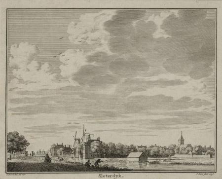 Gezicht op Sloterdijk in 1736.