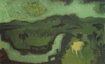 Jaap Min, Groen polderlandschap, 1950.